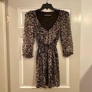 Zara Animal Print 3/4 Sleeve Mini Dress